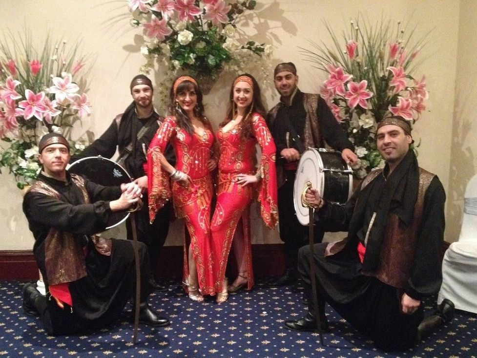 Zaffe group with belly dancers